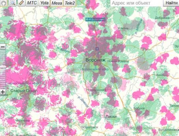 Карта зоны покрытий